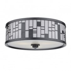 CEROS round semi flush ceiling light in pewter with geometric pattern