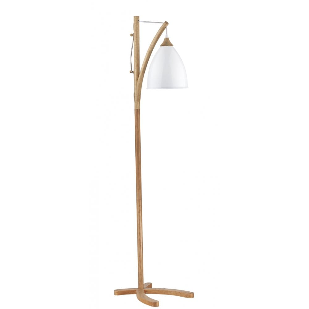 Wooden floor lamp with white painted metal shade double Wood floor lamp