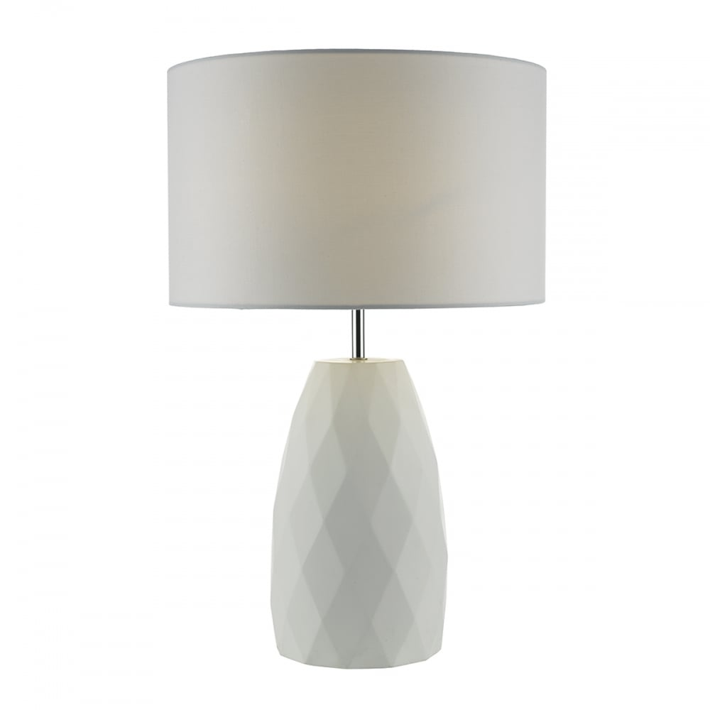 white ceramic table lamp with geometric pattern and white shade. Black Bedroom Furniture Sets. Home Design Ideas