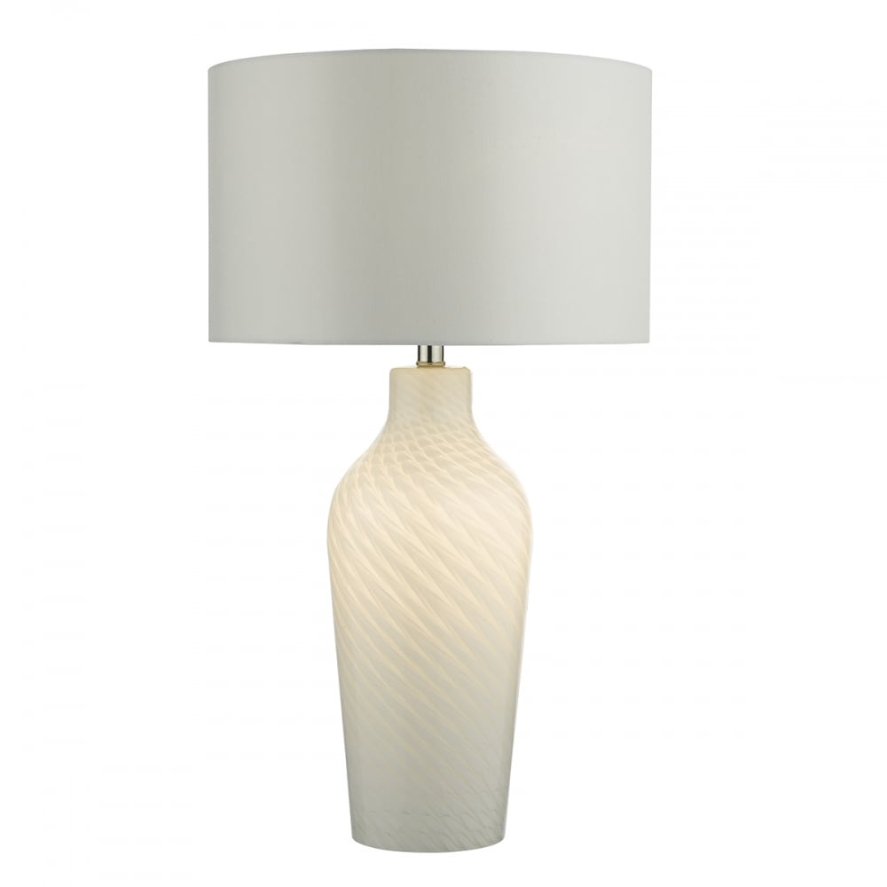 Blown Glass Table Lamps - White mouth blown glass table lamp with shade