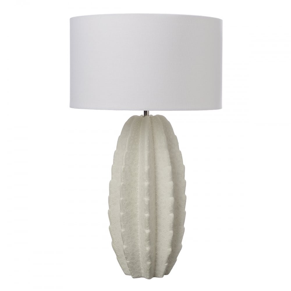 white ceramic cactus table lamp with white shade. Black Bedroom Furniture Sets. Home Design Ideas
