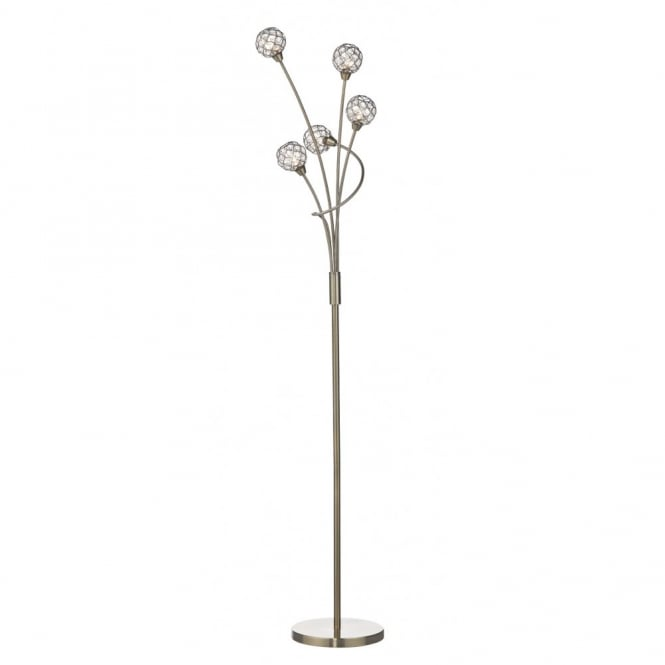 CIRCA 5 light modern floor lamp in antique brass