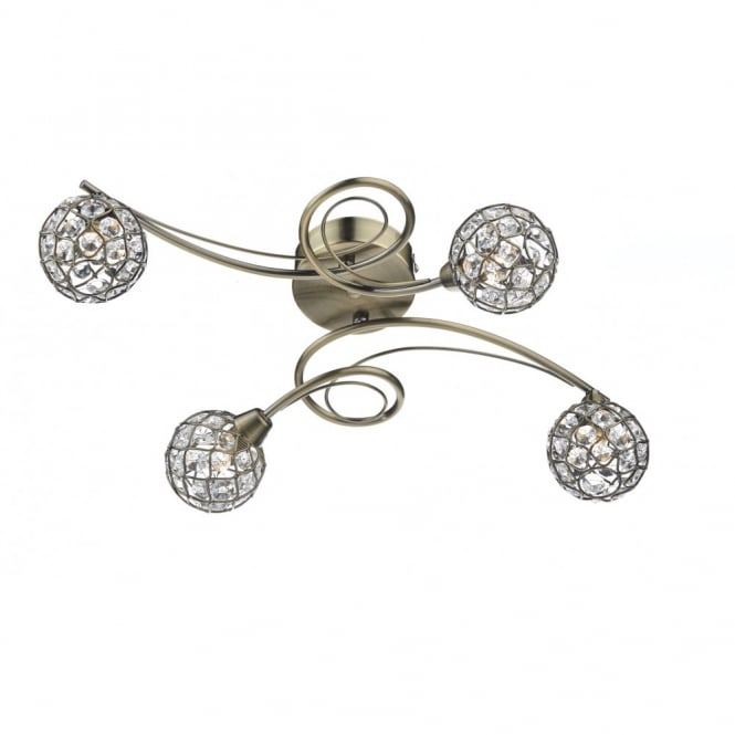 The Lighting Book CIRCA antique brass & crystal flush ceiling light