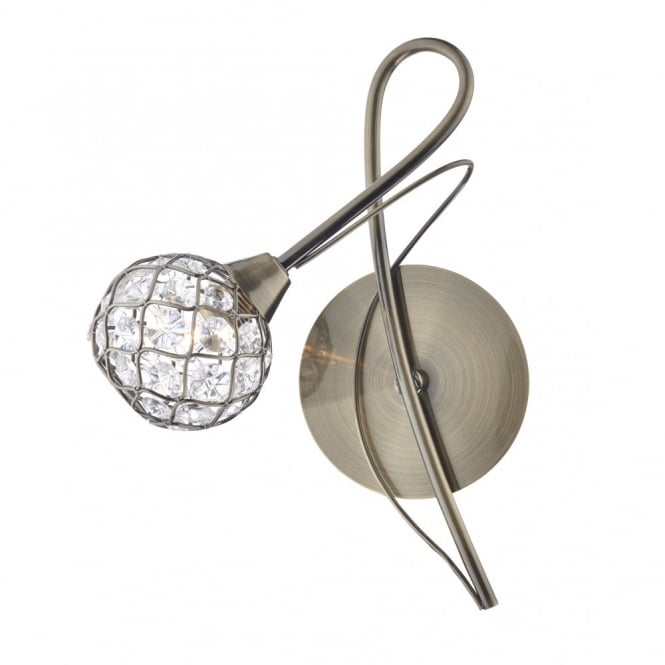 The Lighting Book CIRCA antique brass wall light with crystal globe shade