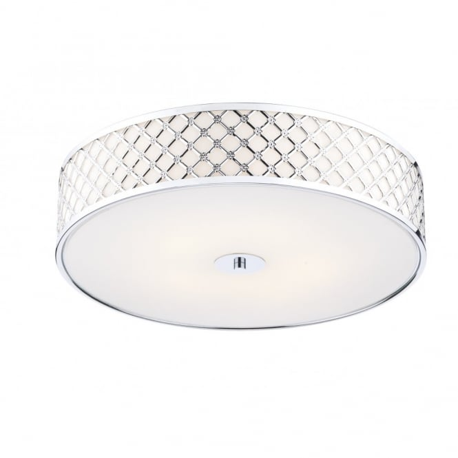 The Lighting Book CIVIC 5 light large flush modern ceiling light with chrome frame & glass diffuser