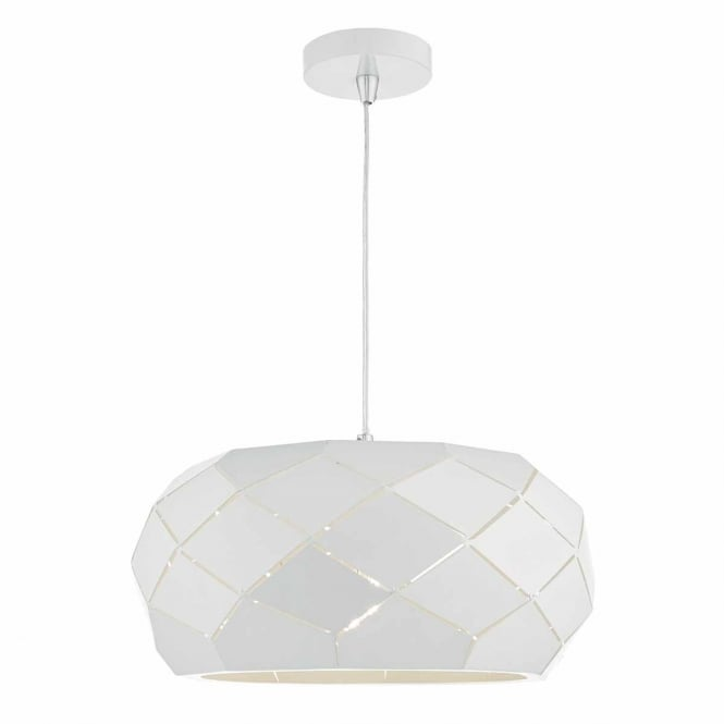 COBY faceted modern ceiling pendant in powder coated white