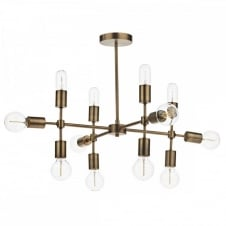 CODE Multi Arm Light Fitting in old gold. A linear grid shape with midcentury charm, highly sculptural.