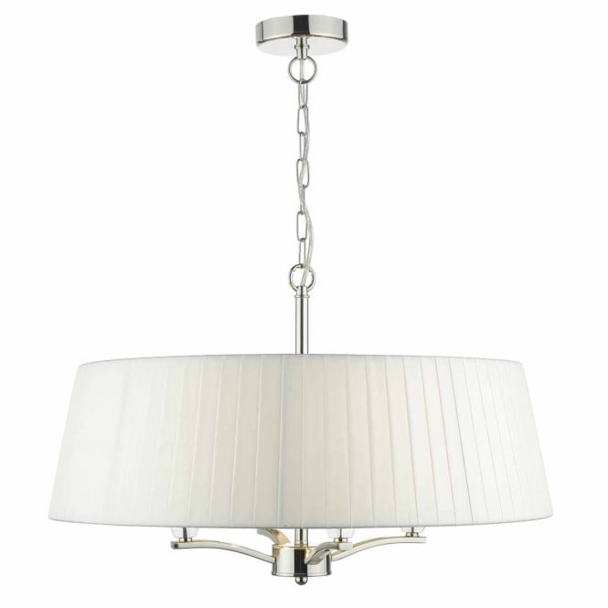 The Lighting Book CRISTEN 4 light pendant in polished nickel with surround shade