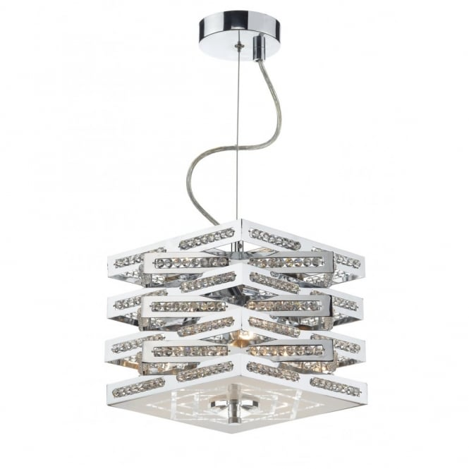 The Lighting Book CUBE 3lt polished chrome pendant/semi flush ceiling light