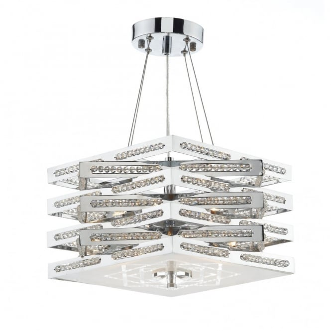 CUBE 5lt polished chrome pendant/semi flush ceiling light