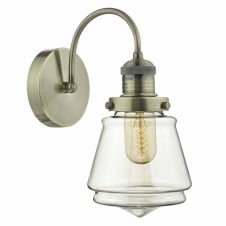 CURTIS vintage antique brass wall light with champagne glass shade