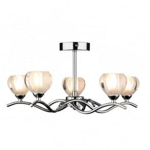 Abstract Semi-Flush Ceiling Light Fitting 5 Patterned Glass Shades:CYNTHIA 5 light chrome ceiling light,Lighting