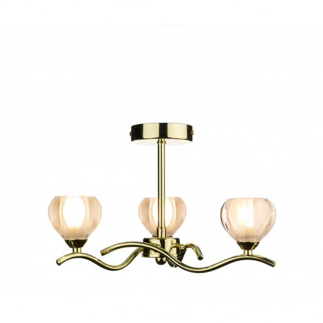 CYNTHIA brass gold ceiling light with 3 bulbs