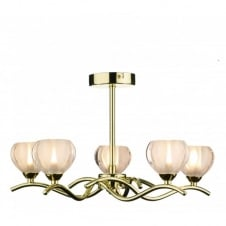 CYNTHIA brass gold light for low ceilings