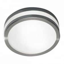 CYRO Bathroom Light Fitting in Satin Silver and Opal Glass. A flush LED Light Fitting IP44 Bathroom Safe.