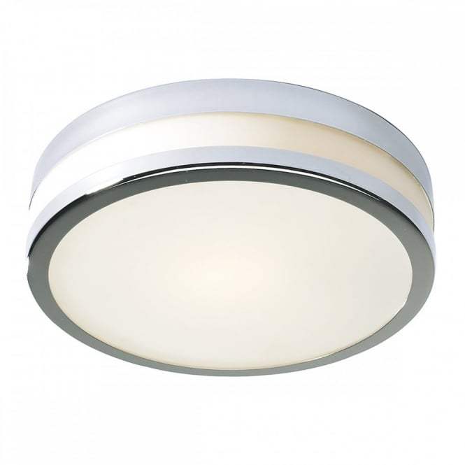 Modern flush fit led bathroom ceiling light in chrome with opal shade