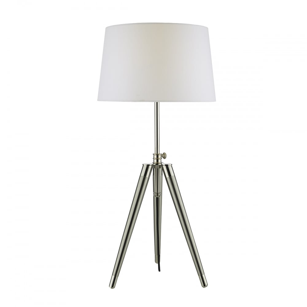 Brushed nickel and satin chrome tripod table lamp with shade brushed nickel and satin chrome tripod table lamp aloadofball Gallery