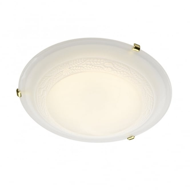 The Lighting Book DAMASK decorative flush LED ceiling light for low ceilings (brass clips)