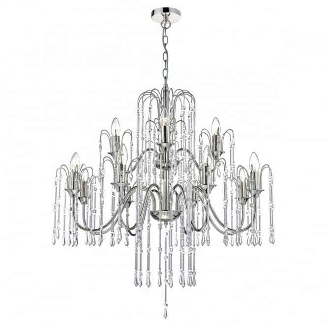 The Lighting Book DANIELLA decorative 12 light chandelier in polished nickel with crystal droplets