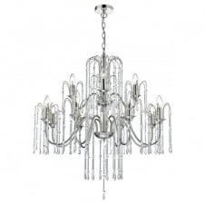 DANIELLA decorative 12 light chandelier in polished nickel with crystal droplets