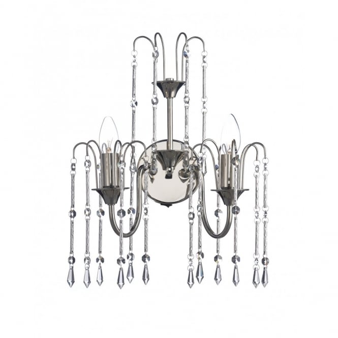 The Lighting Book DANIELLA double wall light in polished nickel with crystal droplets