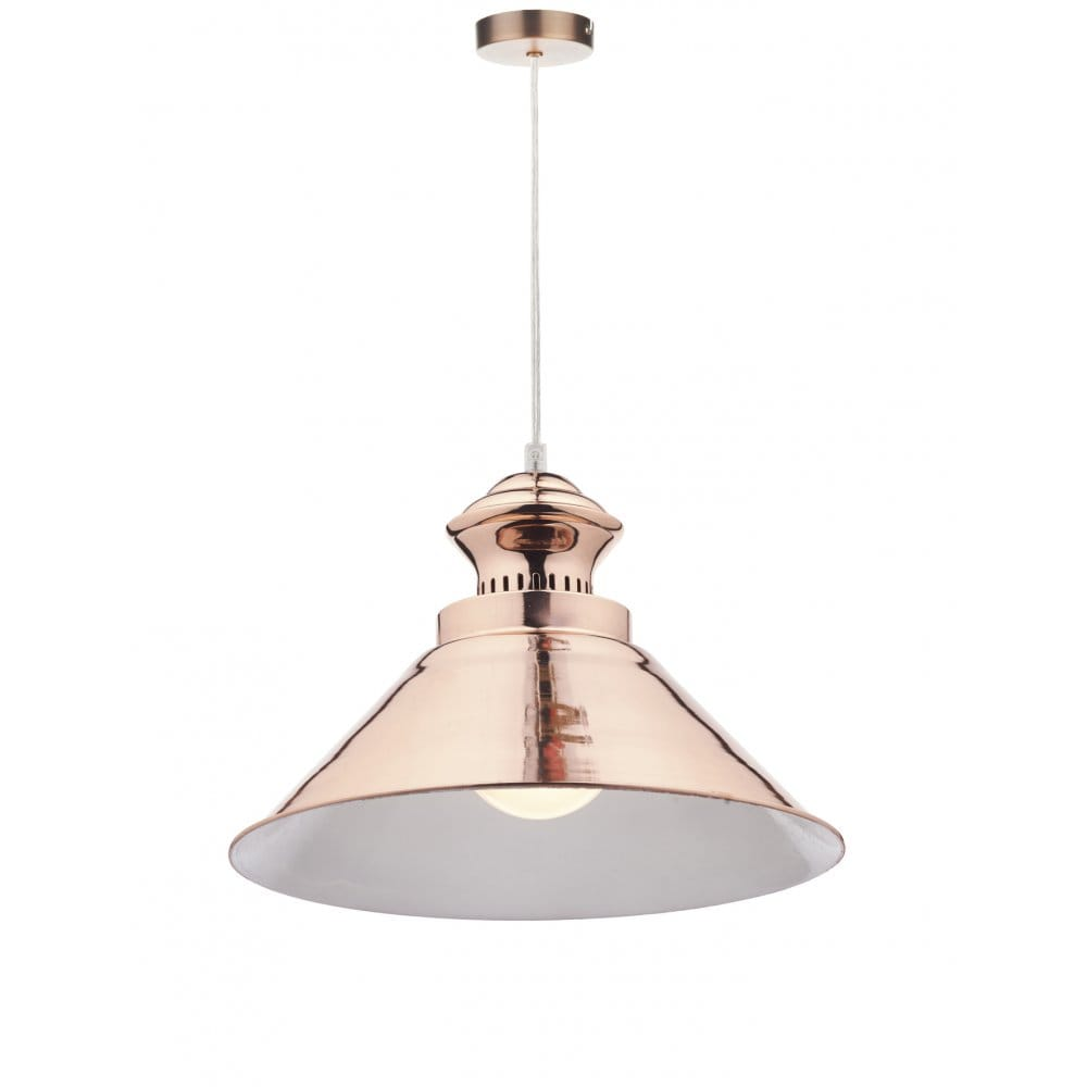 retro copper finish ceiling pendant w white inner