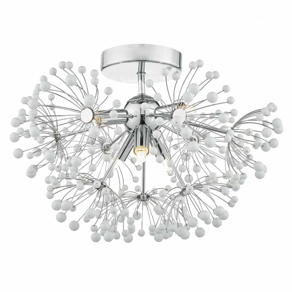 decorative modern flush ceiling light in chrome with white glass