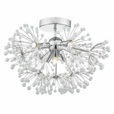 DAVINE 6 light flush chrome and white glass ceiling light