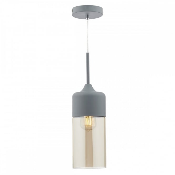 The Lighting Book DAYTON contemporary matt grey & champagne glass ceiling pendant