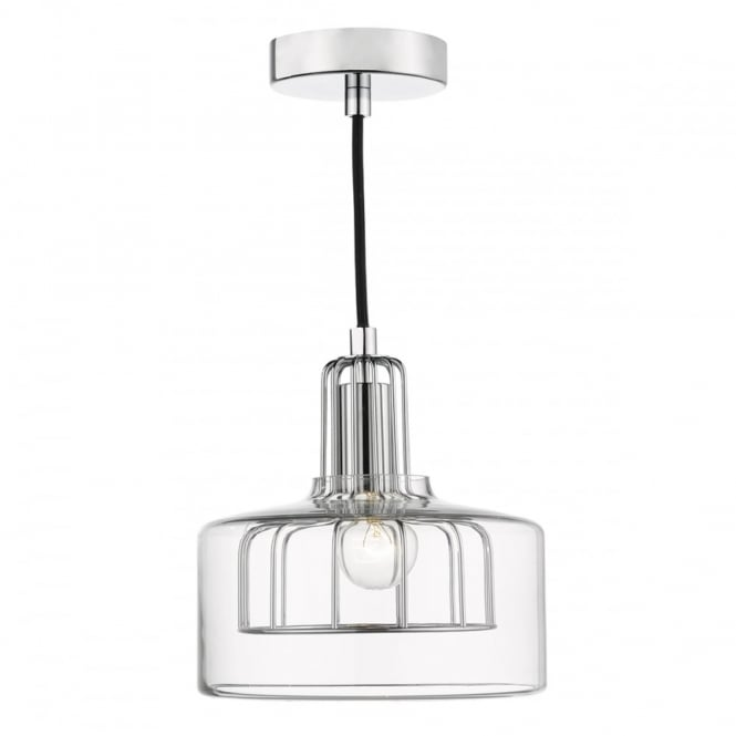 The Lighting Book DEFOE modern ceiling pendant with chrome inner frame and clear outer glass
