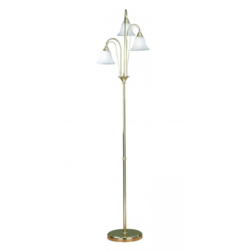 Derwent brass or gold standard floor lamp with 3 opal for Traditional gold floor lamp