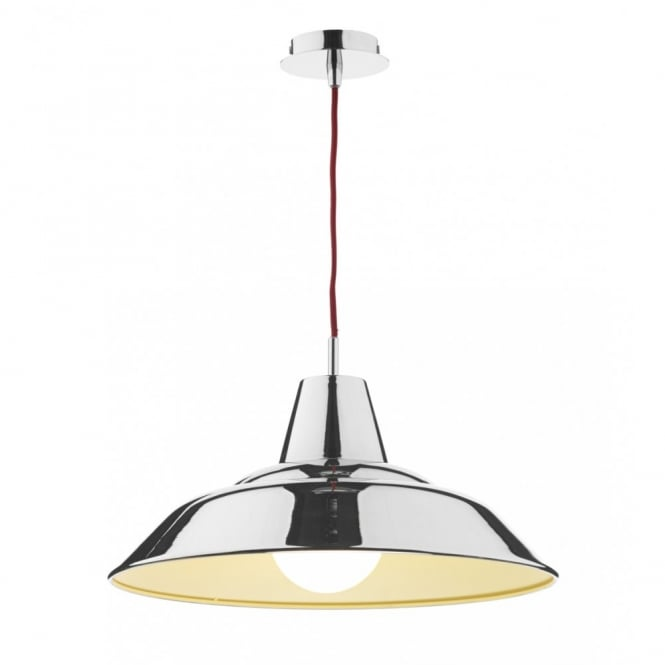 The Lighting Book DIGBY modern polished chrome ceiling pendant with red flex