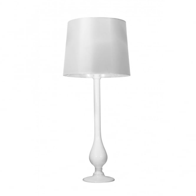DILLON white glass table lamp and shade