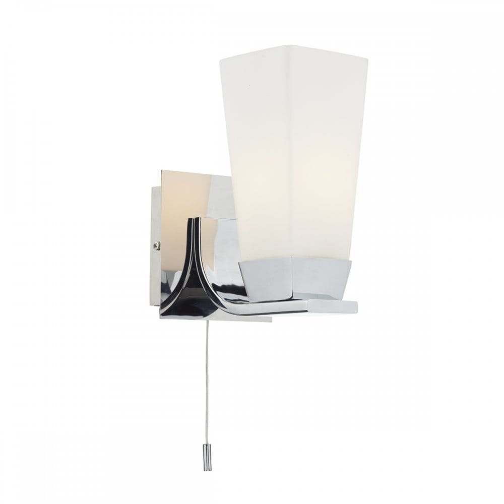 Contemporary Wall Sconce With Switch : Polished Chrome Bathroom Wall Light with Opal Glass Shade - Switched