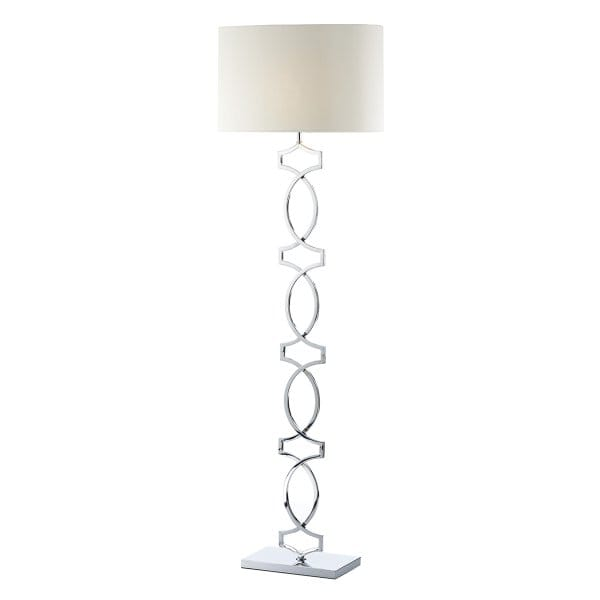 Contemporary polished chrome floor lamp with cream shade for Pallas chrome floor lamp