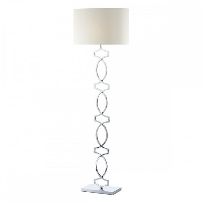 Contemporary polished chrome floor lamp with cream shade class 2 donovan modern chrome floor lamp with cream faux silk shade aloadofball Images