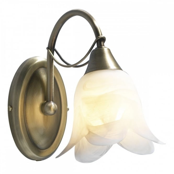 The Lighting Book DOUBLET antique brass wall light, switched