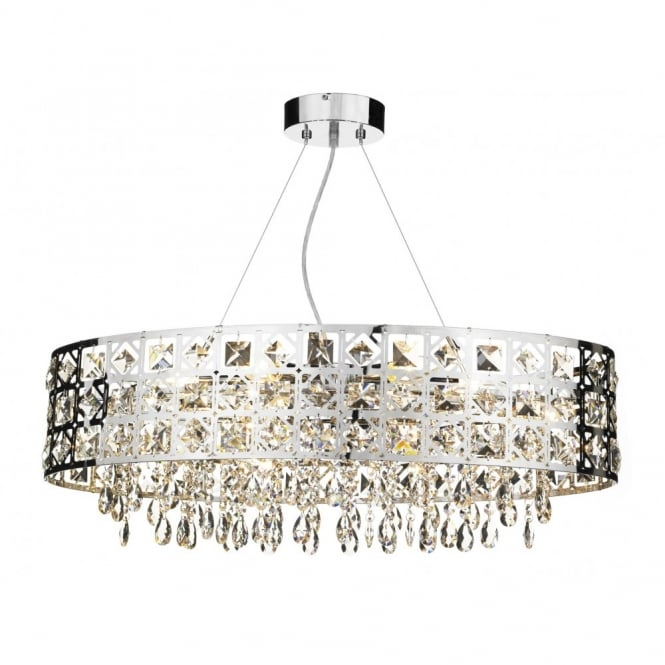 The Lighting Book DUCHESS large modern chrome & crystal oval chandelier