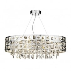 DUCHESS large modern chrome & crystal oval chandelier