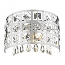 DUCHESS semi-circular modern chrome & crystal wall light
