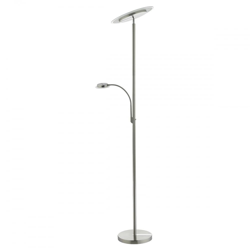 Contemporary Mother and Child Satin Nickel LED Floor Lamp