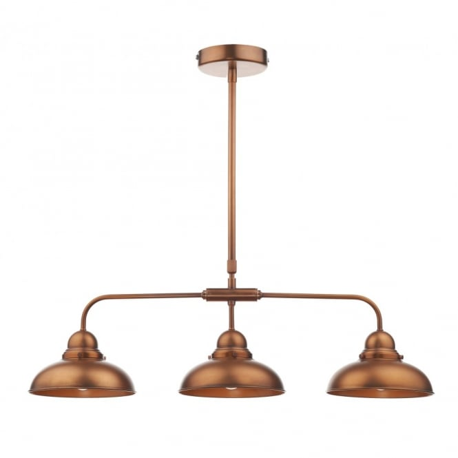 Retro Style Copper Ceiling Bar Pendant, 3 Light. Double