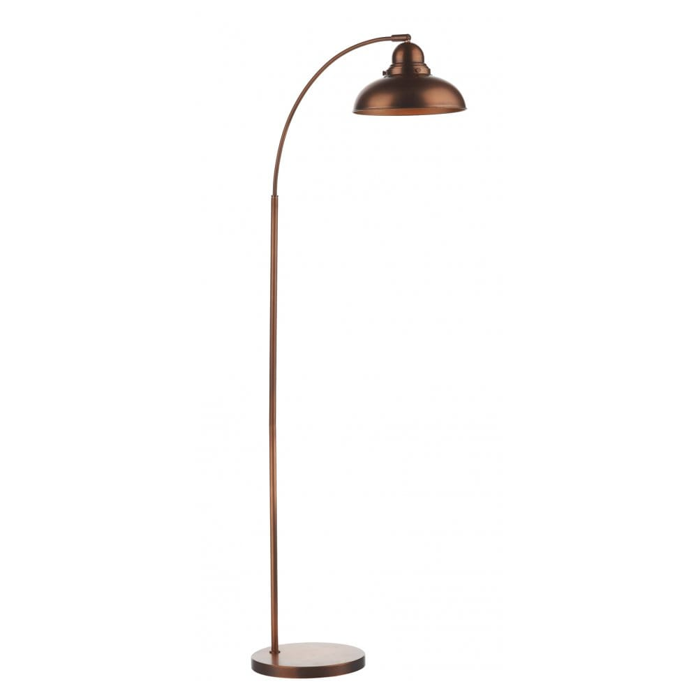 Antique copper floor lamp individually switched double for Copper camera floor lamp