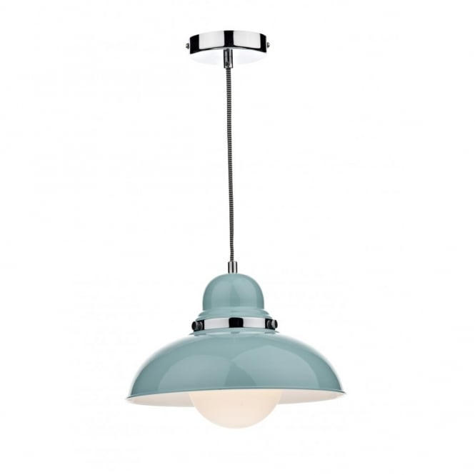 The Lighting Book DYNAMO blue & chrome single pendant light