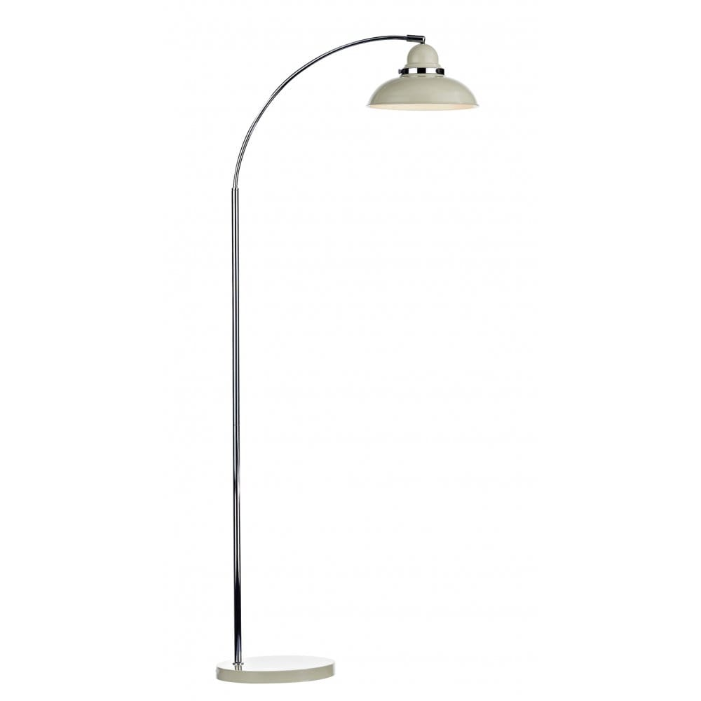 Wide Arc Floor Standing Lamp Retro Style In Gloss Cream