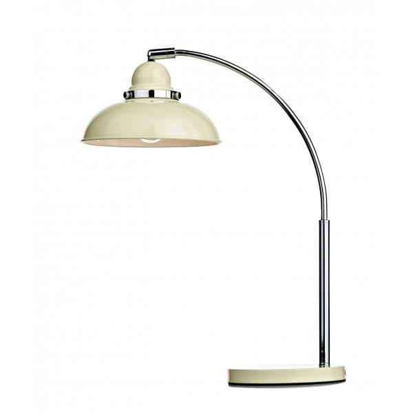 Retro cream metal chrome table lamp desk light or study for Retro floor reading lamp