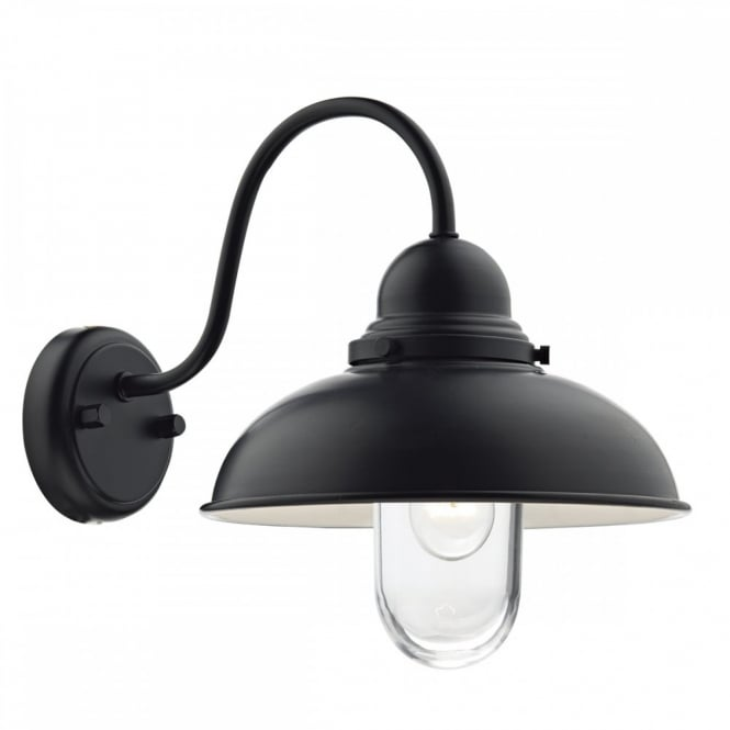 The Lighting Book DYNAMO exterior wall light in matte black with clear glass