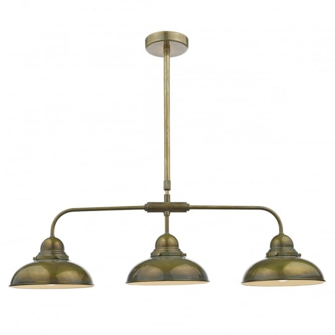 The Lighting Book DYNAMO retro 3 light ceiling bar pendant in weathered brass