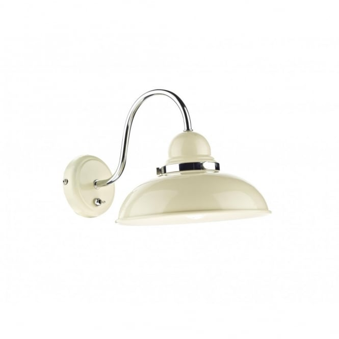 Rustic Cream Metal Wall Light, Retro Style with Chrome Detailing