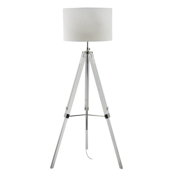 contemporary white gloss tripod floor lamp with chrome detail With chrome tripod floor lamp with drum shade
